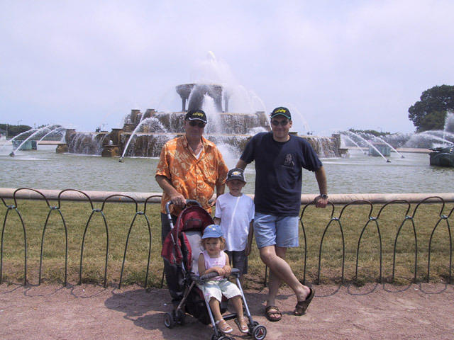 My dad,me, wife (taking the pic) and kids taking a trip to the Buckingham fountain  Summer 2005